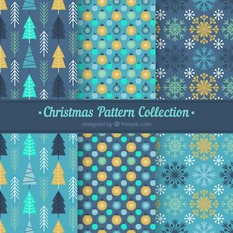 Coleção de padrões azuis de natal com elementos amarelos