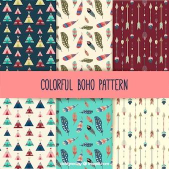 Coleção de padrões boho colorido