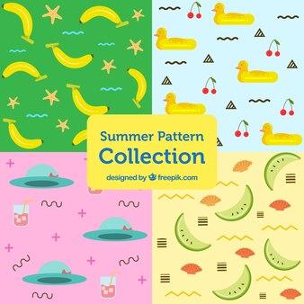 Coleção de padrões bonitos do verão