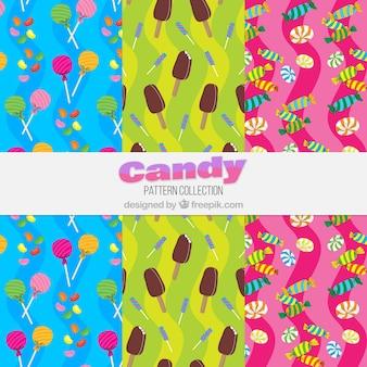 Coleção de padrões coloridos com deliciosos doces