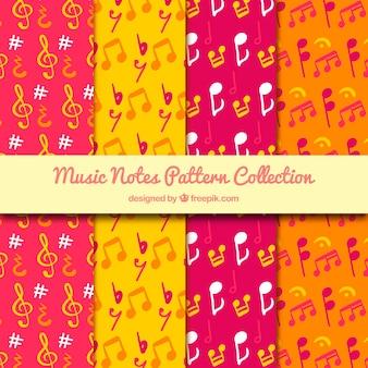 Coleção de padrões coloridos com notas musicais