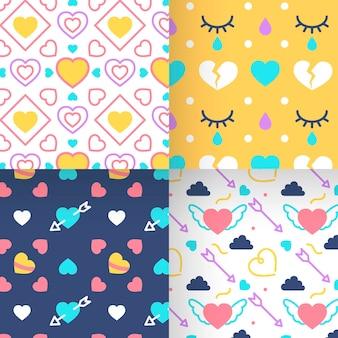 Coleção de padrões coloridos de corações planos