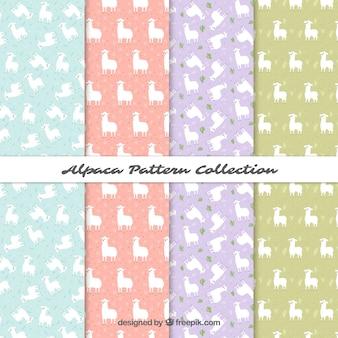 Coleção de padrões de alpacas bonito em estilo simples
