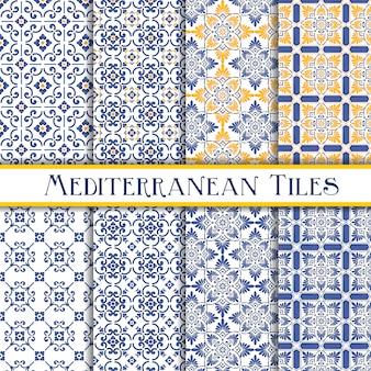 Coleção de padrões de azulejos mediterrânicos