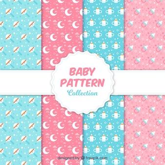 Coleção de padrões de bebê azul e rosa