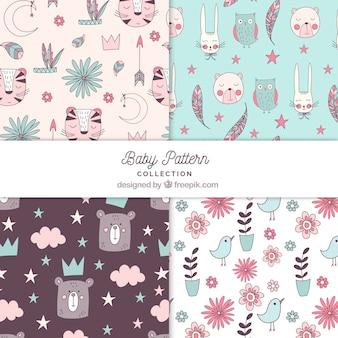 Coleção de padrões de bebê com elementos fofos