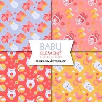 Coleção de padrões de bebê com elementos