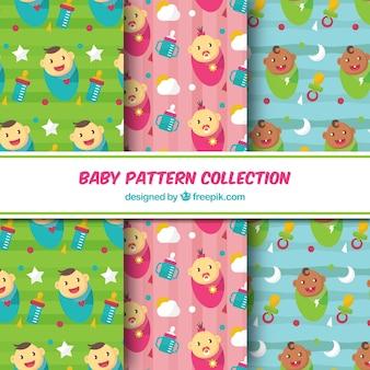 Coleção de padrões de bebê em estilo plano