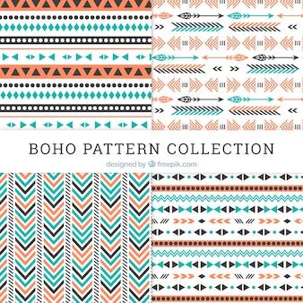 Coleção de padrões de boho com design plano