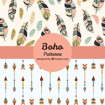 Coleção de padrões de boho com elementos hippie