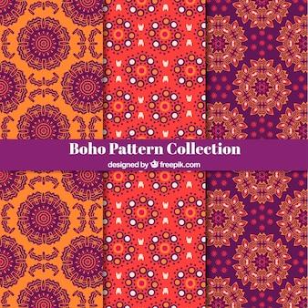 Coleção de padrões de boho com estilo hippie