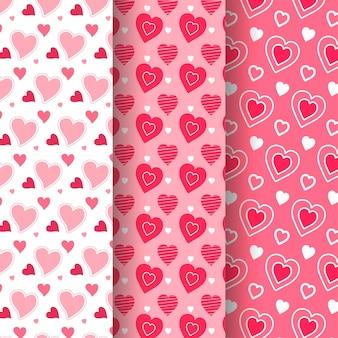 Coleção de padrões de coração bonito mão desenhada