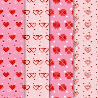 Coleção de padrões de coração de design plano