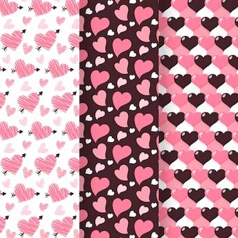 Coleção de padrões de coração desenhado à mão