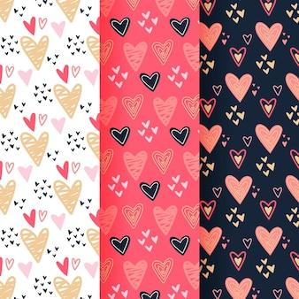 Coleção de padrões de coração desenhado