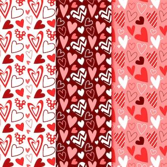 Coleção de padrões de coração plano