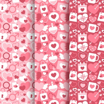 Coleção de padrões de design plano para dia dos namorados