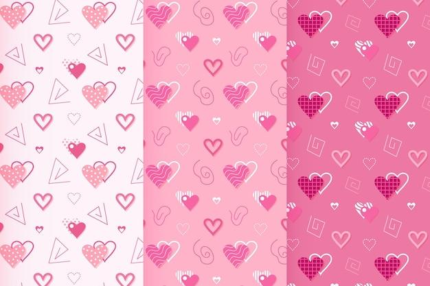 Coleção de padrões de design plano para o dia dos namorados