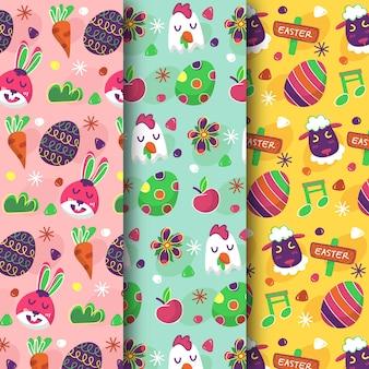 Coleção de padrões de dia de páscoa fofos