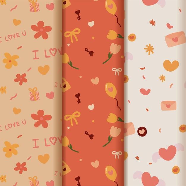 Coleção de padrões de dia dos namorados definida com corações desenhados à mão.