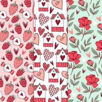 Coleção de padrões de dia dos namorados desenhada à mão