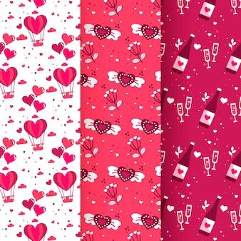 Coleção de padrões de dia dos namorados