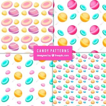 Coleção de padrões de doces coloridos em estilo simples