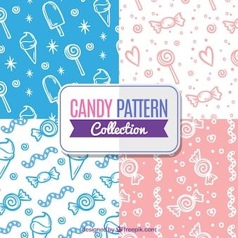 Coleção de padrões de doces com cores diferentes