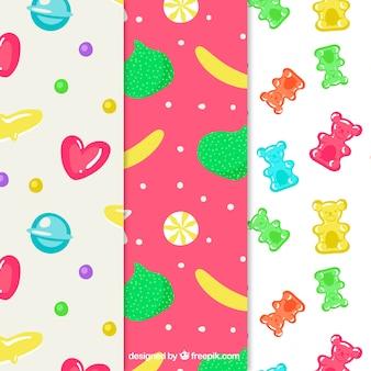 Coleção de padrões de doces deliciosos em estilo simples