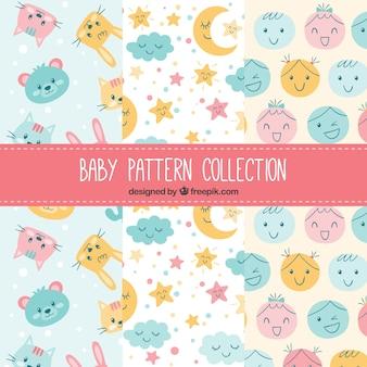 Coleção de padrões de elementos do bebê