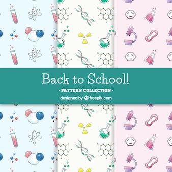 Coleção de padrões de escola com elementos