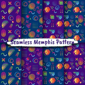 Coleção de padrões de estilo memphis sem costura