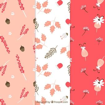 Coleção de padrões de flores bonitas em estilo simples