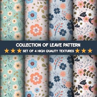 Coleção de padrões de flores e folhas