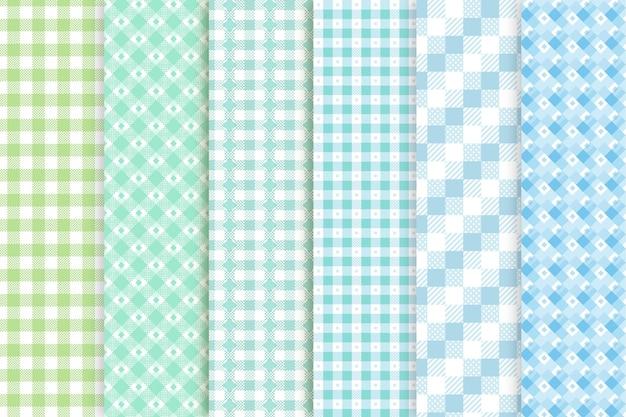 Coleção de padrões de guingão coloridos frios