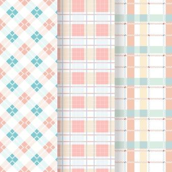 Coleção de padrões de guingão em tons pastéis
