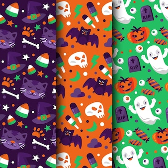 Coleção de padrões de halloween de design plano