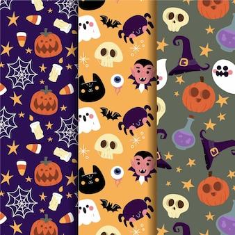 Coleção de padrões de halloween desenhado à mão