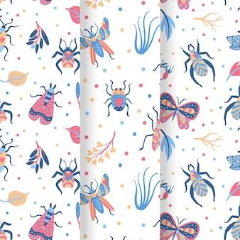 Coleção de padrões de insetos