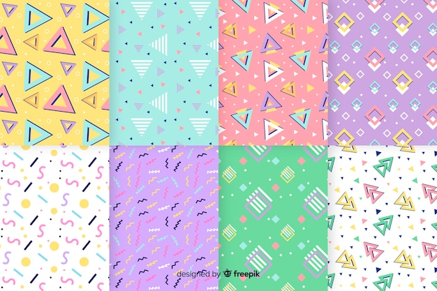 Coleção de padrões de memphis com várias formas