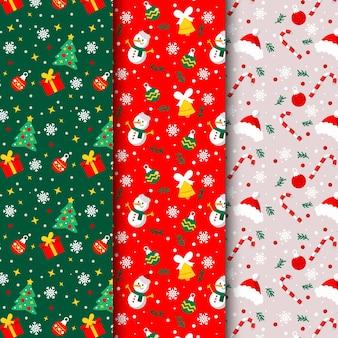 Coleção de padrões de natal de design plano