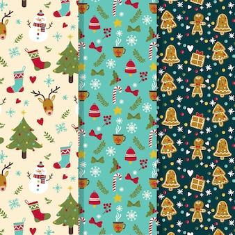 Coleção de padrões de natal desenhada à mão