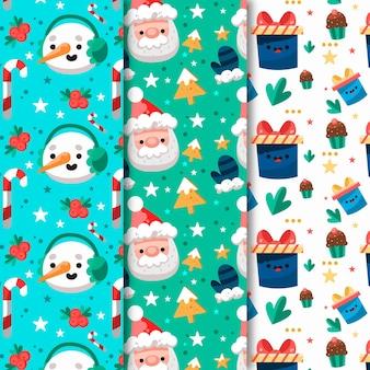 Coleção de padrões de natal em design plano