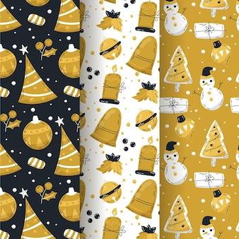 Coleção de padrões de natal em preto e dourado