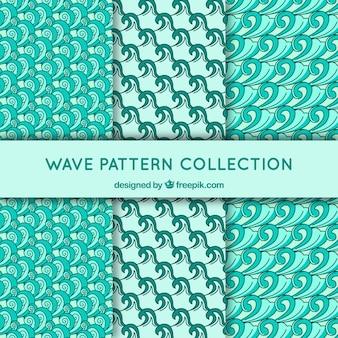 Coleção de padrões de onda em tons verdes