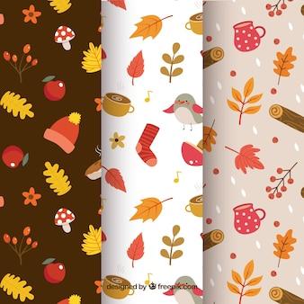 Coleção de padrões de outono com elementos