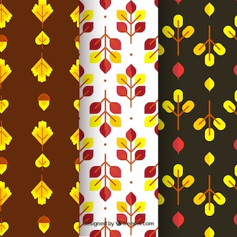 Coleção de padrões de outono com vetor livre de elementos geométricos