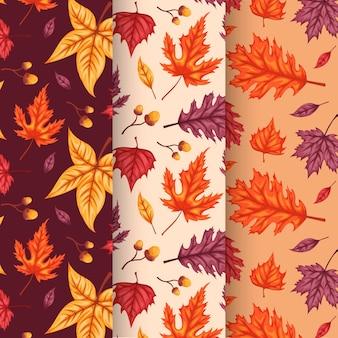 Coleção de padrões de outono desenhada