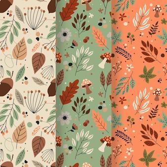 Coleção de padrões de outono desenhados à mão