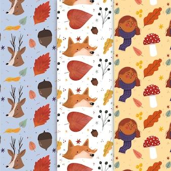 Coleção de padrões de outono desenhados